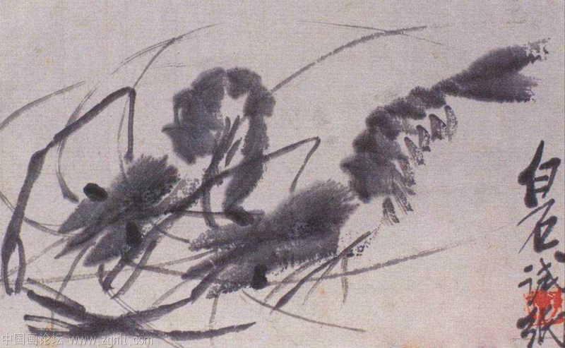 齐白石画虾,虾跃画面,堪称一绝